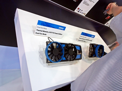 The heatsink finstack of the HD 7770 and HD 7750 Power Edition graphics cards in Dual Fan cooling mode, on display at the MSI booth at Computex 2012.