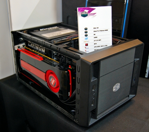 The Elite 120 can be fitted with a dual-slot graphics card like the AMD Radeon HD 6970 graphics card.