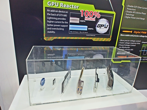 The display case contained the major composite parts of the MSI GTX 680 Lightning.