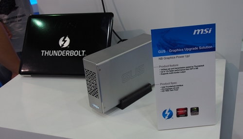 The GUS setup comprises a MacBook connected to the MSI GUS. According to the spokesperson, the enclosure houses a Radeon HD 7850 graphics card.