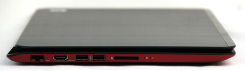 On the left side of the machine, you'll find a multi-card reader, two USB 3.0 ports, an HDMI port and an RJ-45 LAN port.