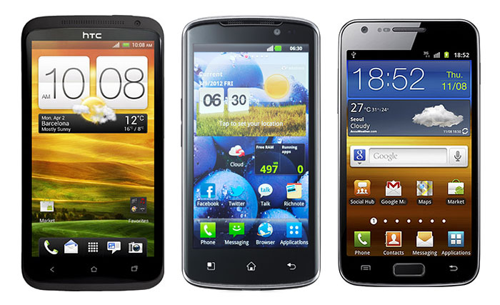 The HTC One XL, LG Optimus True HD LTE, and Samsung Galaxy S II LTE.