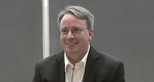 Linus Torvald addressing an audience at the Aalto Center for Entrepreneurship in Otaniemi, Finland on 14 June 2012. (Image Source: Aalto Center for Entrepreneurship)