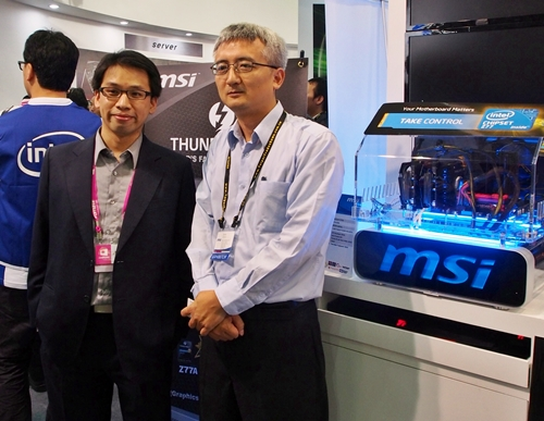Mr Green Lin, Marketing Manager for Notebook Marketing Channel (left) and Mr Tim Lee, Sales Director, APAC Sales Dept., Sales Channel (right) at the MSI booth during Computex 2012.