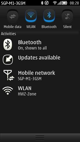 Android users will be familiar with the design of the drop-down notifications bar on Symbian Belle. Simply drag down from the top to get a glimpse of the activity on your phone as well as access important phone settings.