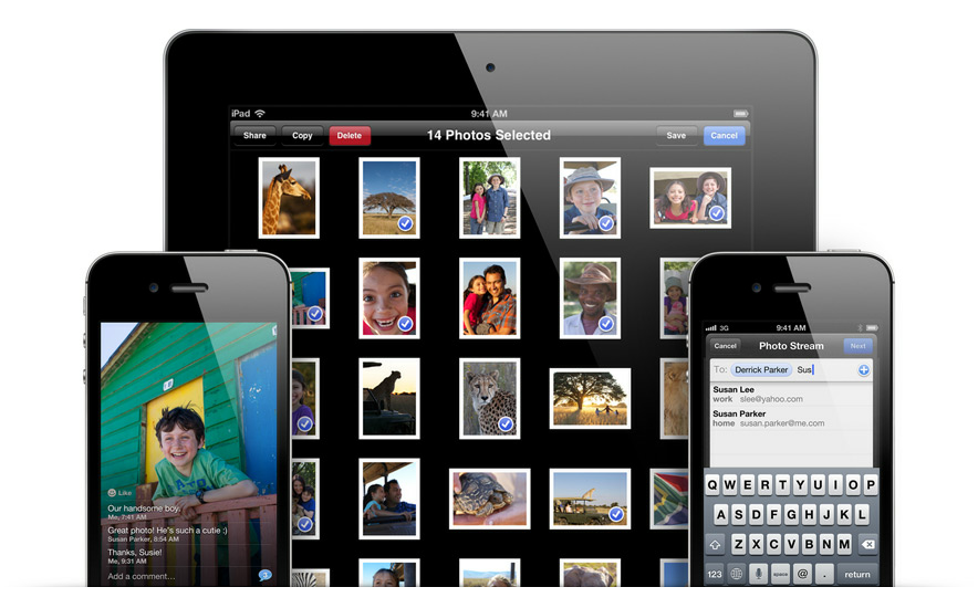 In iOS 6, Photo Stream allows users to share multiple sets of photos with users as well as comment on them, album-style.