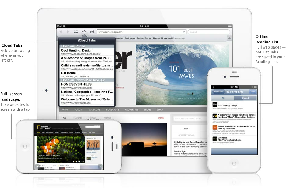 Safari in iOS 6 will feature iCloud tabs and an off-line reading list, of which the latter allows you to download and cache information for times where connectivity is scarce.