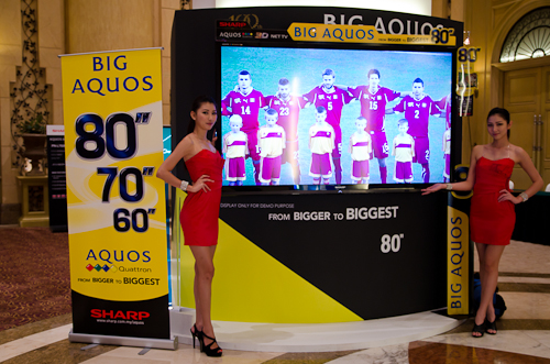 Two models showing of the extremely large 80-inch Sharp AQUOS LC80LE940X