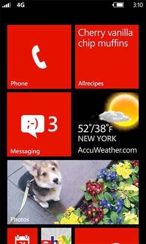 The new flexible Windows Phone 8 Start screen. (Credit: Microsoft)
