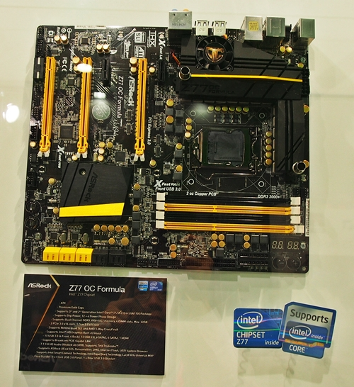 The Z77 OC Formula motherboard features active cooling with a fan at one of the heatsinks of the VRM next to the LGA 1155 CPU socket. It reminds us of the ASUS Sabertooth TUF series motherboards that offer a similar feature.