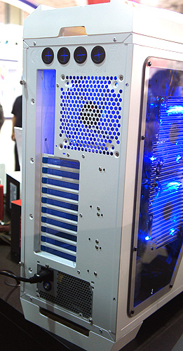 Round the rear we can see that it will have nine expansion slots and four grommets for liquid cooling setups.