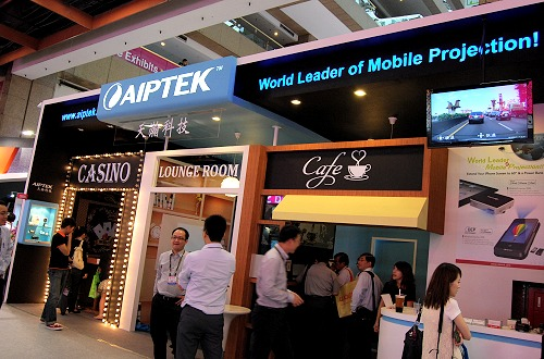 Aiptek didn't really have a lot of new or breakthrough products for show, but what they did manage is a very creative and cozy booth partitioned into 3 themes to showcase their products - casino, lounge and cafe.