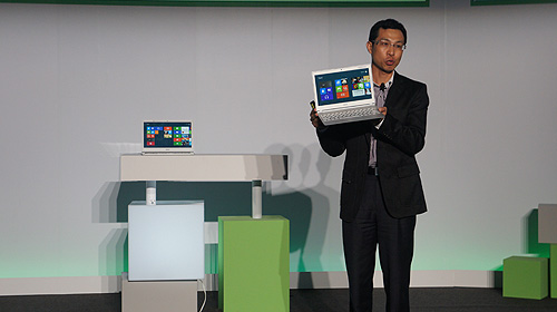Campbell Kan, President of Personal Computer Global Operations showing off the new Acer Aspire S7.