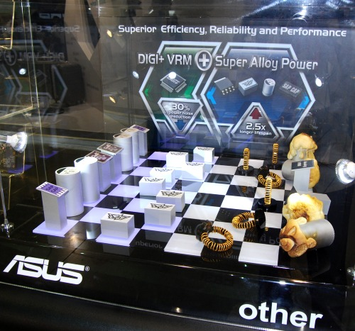 ASUS had this amusing display mimicking a chess board showing off superior power components facing off traditional old-school MOSFETs, chokes, inductors and capacitors.