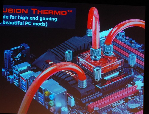 The CPU water cooling block and tubing shown here (not supplied) are an example to complement the Fusion Thermo cooling solution and matches the board's design theme well.
