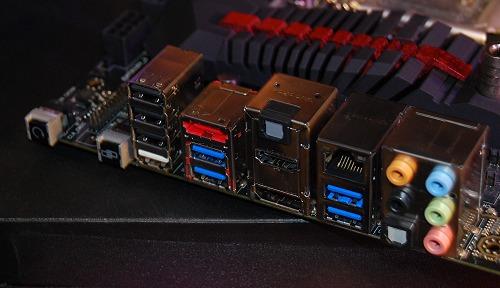 The mobo's rear-I/O ports.
