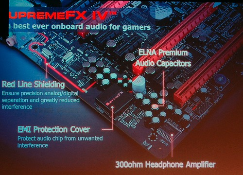 An overview of ASUS's SupremeFX IV audio enhancement features.