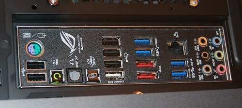 Some of the rear-I/O ports that show that the motherboard within is really ROG caliber.