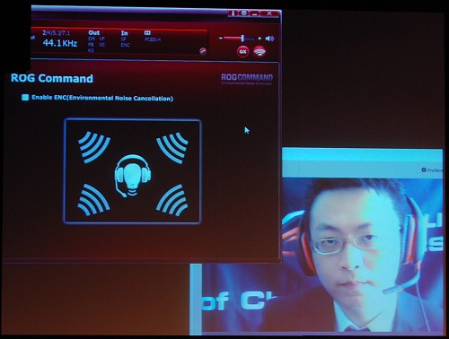 ASUS demoed the ROG Command technology briefly at Computex. The function is very straightforward to activate as there's only one option in the ROG Command section of the audio utility/driver software. Once enabled, voice clarity greatly improved for the better. The quality might vary because of the noise cancelling algorithms at work, but at least you will be rid of noisy ambience to a great degree to hear your opponents/team mates clearly.