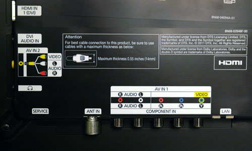 Samsung scores for its neat arrangement and wall-mount-friendly alignments. The Component inputs are located below next to the LAN inlet, while the Composite port sits on the side panel, but note that a breakout cable is needed.