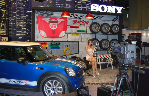 Sony's booth was set up to showcase their new 4K camera and its ability to capture greater details.