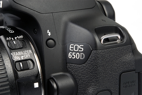 The EOS 650D emblem gleams in the light