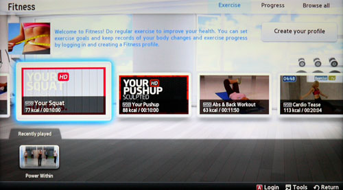 The Fitness segment comes with a suite of self-help videos and apps to help whip your sloppy bod back in shape.
