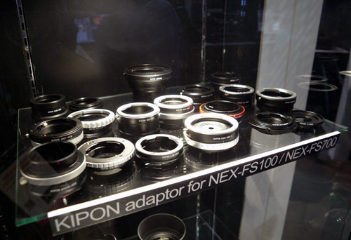 Adapters such as these from Kipon are fully compatible with Sony's FS700 and the older FS100 as well.