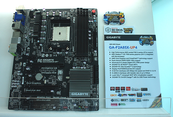 The Gigabyte GA-F2A85X-UP4.