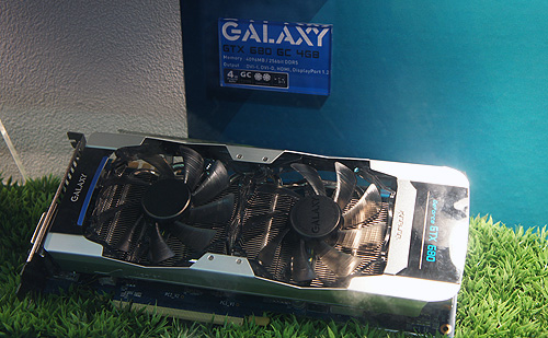 One of the many customized GeForce GTX 680 cards on the show floor was Galaxy's GeForce GTX 680 GV version. The card comes with a dual-fan custom cooler, higher clock speeds and a whopping 4GB framebuffer.