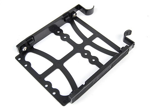 Slip these brackets onto your hard drive and slide them into the hard drive cage and you're good to go. There's no special brackets for smaller SSDs, so you'll have to screw them to the brackets.