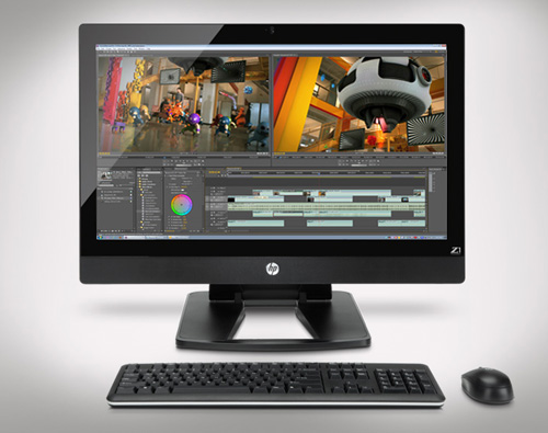 The HP Z1 packs everything, processor, graphics card, memory, hard disk, into one slim and sleek form factor.