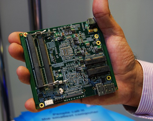 The rear side of the board houses the CPU, chipset and other primary controllers. On this face of the PCB, just add storage and memory and you're good to go.