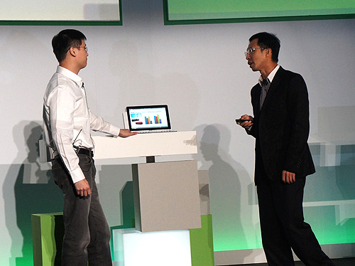 The new tablets being demoed on stage by Campbell Kan, President of Personal Computer Global Operations.