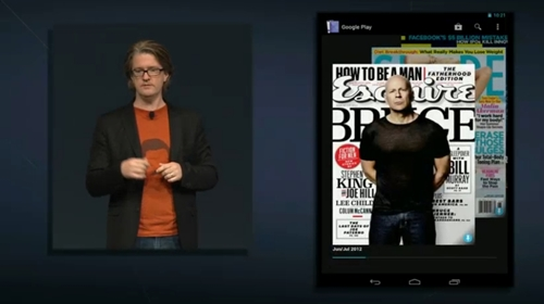 One of the new features seen in the Google Nexus 7 is the Google Play Magazine app. It offers a 3D user experience and offers a cover flow-like scrolling experience .