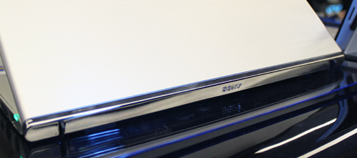 The mirror finish accent strip at the back of the Ultrabook adds an interesting design element.