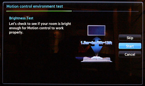 A Motion Control Environment Test needs to be conducted before using the TV's gesture controls. Adequate lighting and a viewing distance of 1.5m to 4m are recommended.