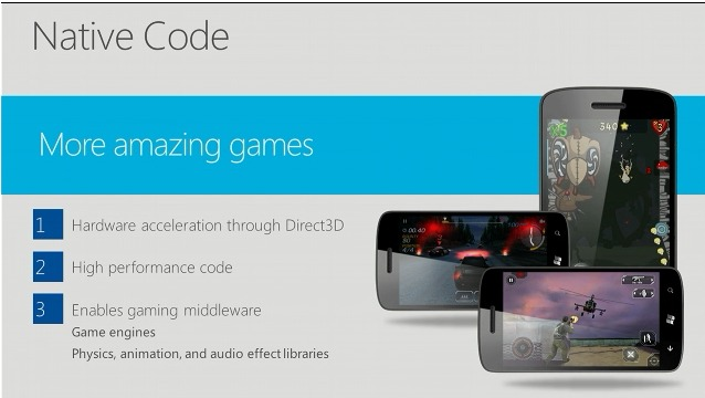 Yet more reasons why native code support rocks, this allows larger and more complex games to be developed thanks to using established game engines used for desktop gaming.To speed things up, even gaming  middleware and effect libraries from Havok, Audiokinetic and Autodesk can be tapped upon.