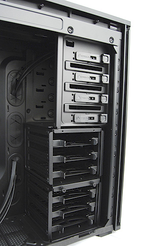 Optical drives can be easily installed simply by sliding them into the drive bays and securing them with the clips. Hard drives are installed using the provided brackets.