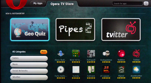 Opera's TV Store will feature applications coded in HTML5. However, there aren't too many apps to go around as yet, judging by what we've seen on the HX855.