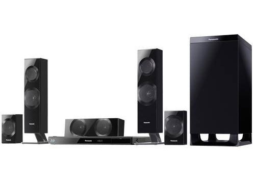The Panasonic SC-BTT583 Home Theater System consists of a 3D Blu-ray player/receiver and a 5.1-channel speaker system.