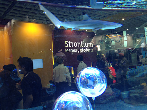 Not sure what environmentalists or animal welfare activists will make of this, but Strontium's booth had a tank with two sharks in it.