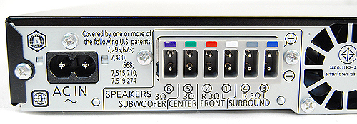 Going to the rear, on the left, you'll find the AC-in as well as connectors for the speakers. The connectors and the speakers themselves are color-coded for easy setup.