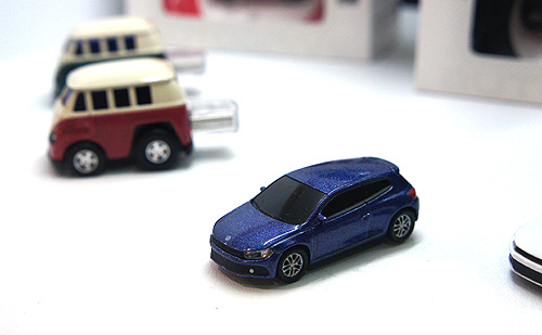 For fans of VW, the company also makes flash drives in the form of the new Scirocco and the classic Kombi van.