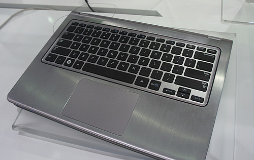 The keyboard can be folded a fully so that it folds against the back of the screen, thereby transforming the Ultrabook into a tablet.