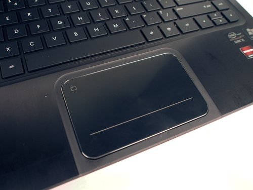 The trackpad is generously sized, with a fast and smooth feel.