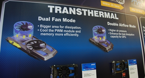 With the Transthermal feature, the 120mm fans, with their blue mounting brackets, can be mounted side-by-side, or stacked on top of each other.