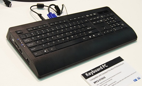The keyboard is a little chunkier than you might like, but considering that a full fledged PC is running under those keys, it sounds impressive. This model is the KPC2 and it can take in up to a 45W TDP based LGA1155 processor running on its Intel H61 chipet thin Mini-ITX board.