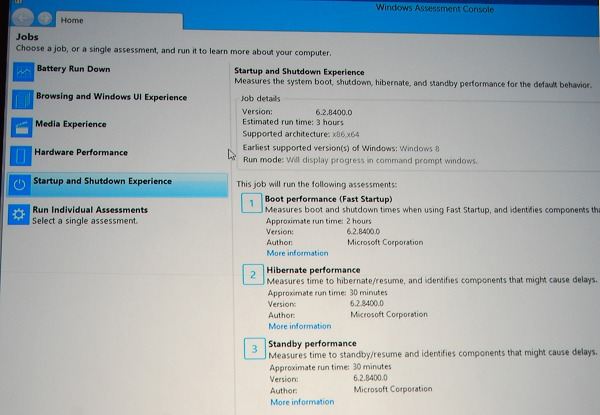 The Windows ADK has a number of useful test suites to check and assess various performance aspects. Seen here are system boot/shutdown related sub-tests.