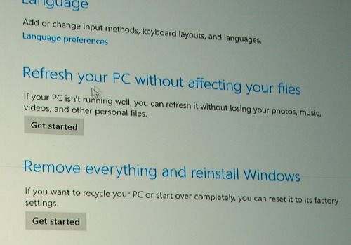 And here are the discussed options - Refreshing your PC and below that, Remove everything refers to resetting the system.